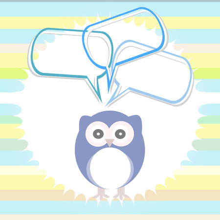 lowbrow: Cute card with owl and thought speech bubble