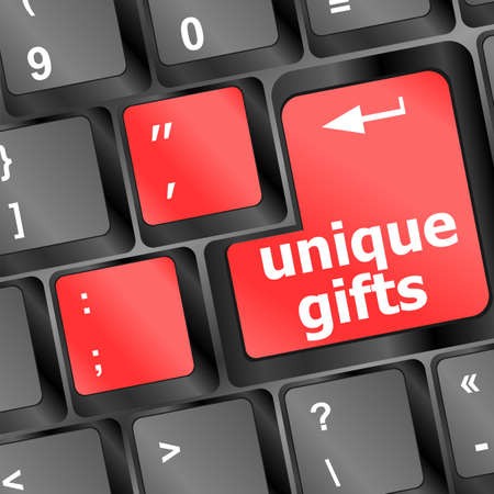 Gift concepts or buying a gift online, with a message on keyboard photo