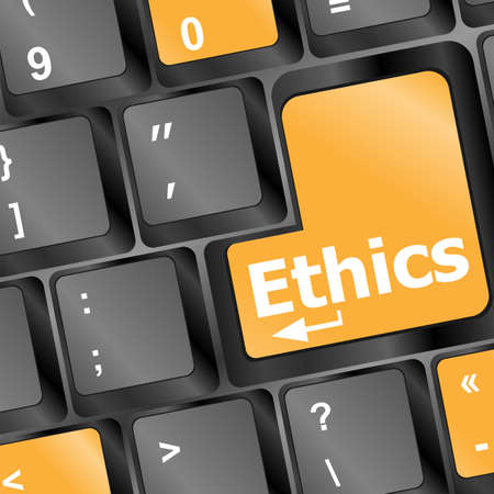 ethical: A keyboard with a key reading ethics Stock Photo