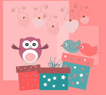 birthday party elements with cute owls, birds, hearts and flowers photo