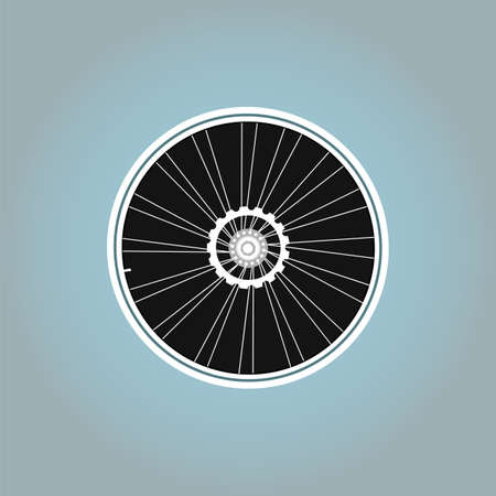 velocipede: Bicycle wheel symbol on abstract background