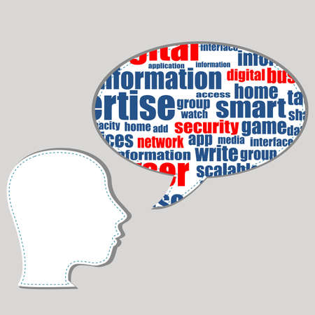 Head with the words on the topic of social networking and media Stock Photo - 17335091