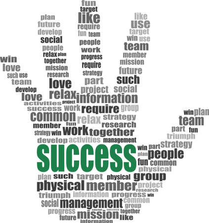 success hand symbol with tag cloud of word Stock Photo - 17335045