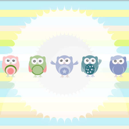 Birthday party owls set. invitation card for baby boy photo