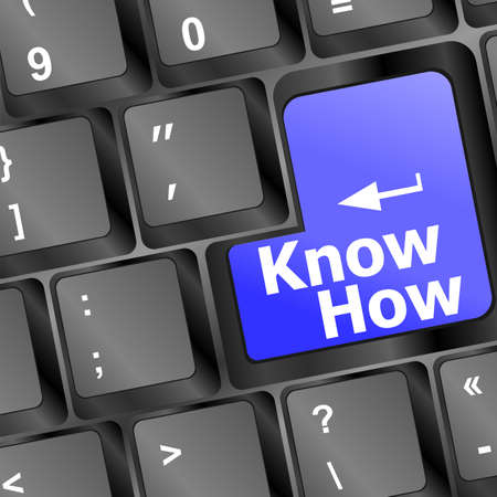 know how: know how knowledge or education concept with blue button on computer keyboard
