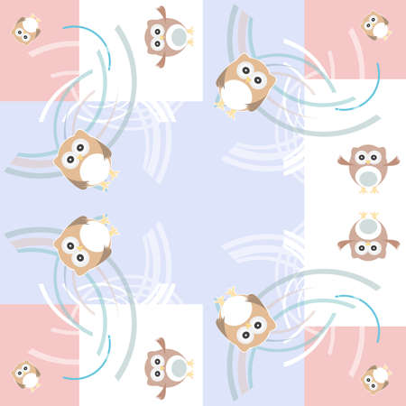 Seamless colourfull owl pattern for kids photo