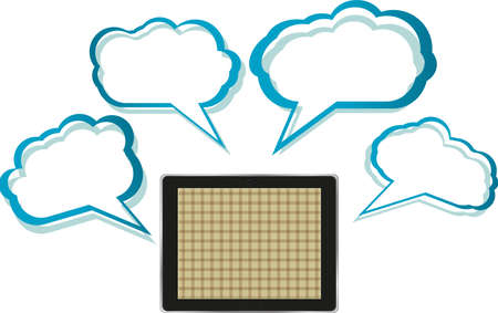 Word bubble on black tablet pc social network concept photo