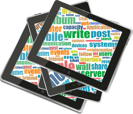 Business and financial words on tablet pc screen photo