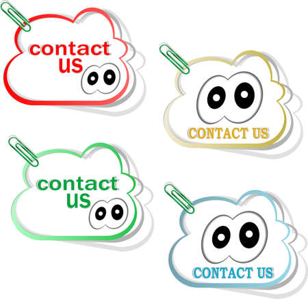 contact us cloud signs set with cute eyes and clip Stock Photo - 17432176