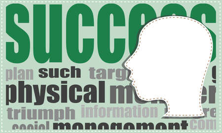 Human head over success word background photo