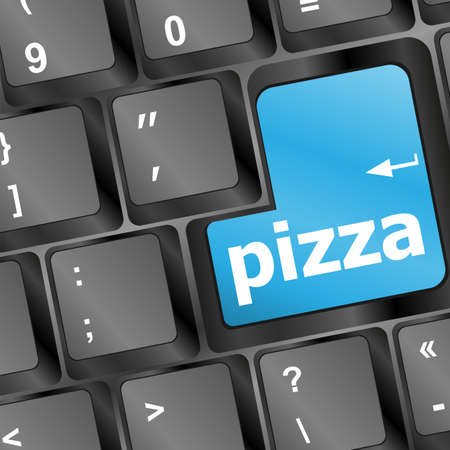 Computer keyboard with blue pizza word on enter key Stock Photo - 17432202