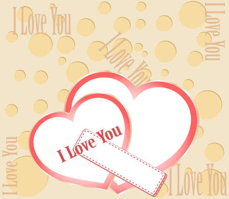 Two red hearts with I love you text Stock Photo - 17432195