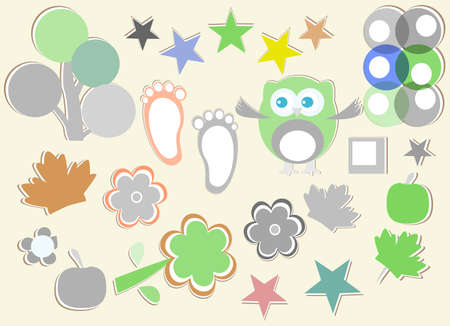set of nature element for design - owls, legs, flowers, stars, trees photo