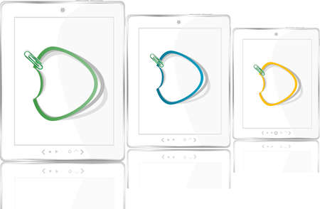 white tablet pc device set with abstract stickers cloud Stock Photo - 17432354