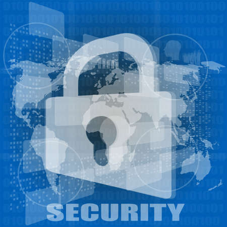 cyber crime: Security concept: Lock on digital screen Stock Photo