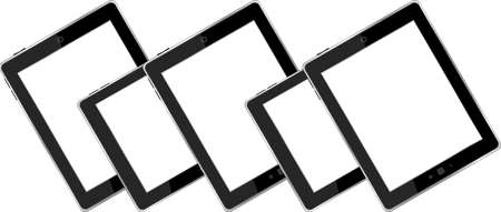 Set of blank generic tablet pc with blank screen photo