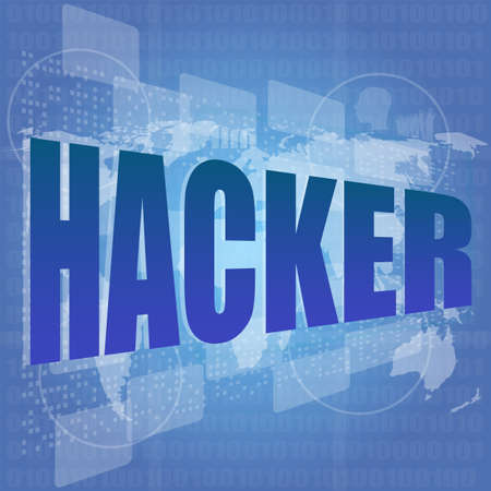 hacker word on digital screen. Computer security concept Stock Photo - 17598605