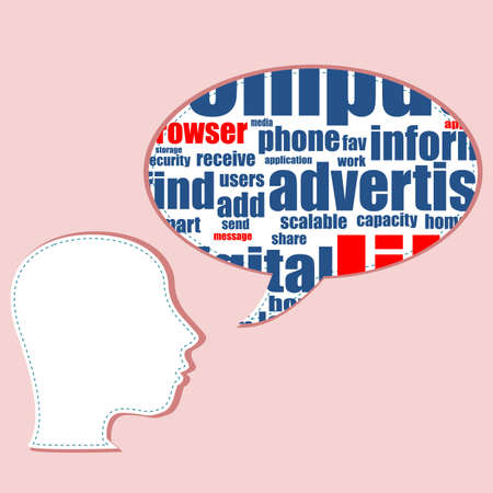 Word cloud, tag cloud text business concept. Head silhouette with the words on the topic of social networking. Word collage Stock Photo - 17598620