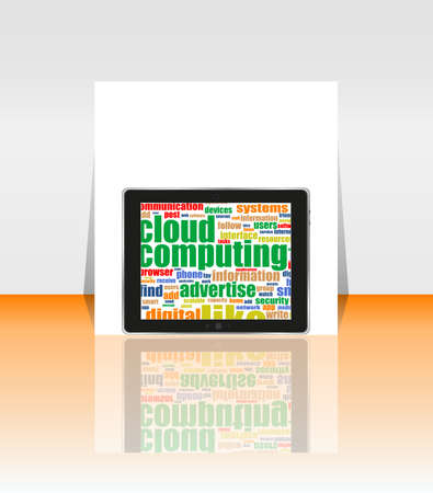 Tablet PC with social word on it. flyer or presentation Stock Photo - 17598606