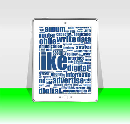 white tablet pc with social word Stock Photo - 17598607