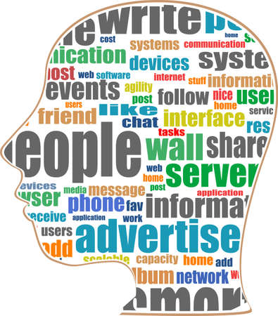 Head with the words on the topic of social networking and media Stock Photo - 17598608