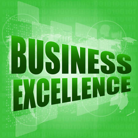 business excellence words on digital touch screen with world maps Stock Photo - 17598591