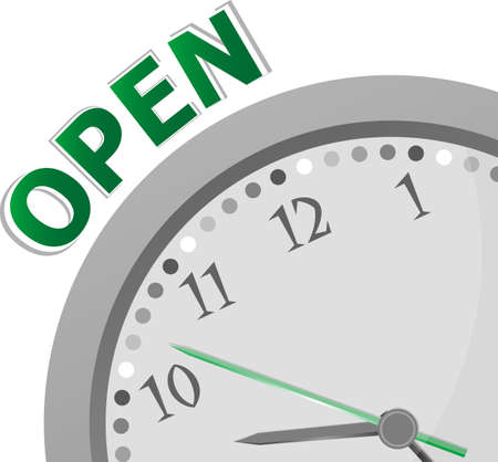 openingstijden bord met moderne klok - 24 uur 7 dagen