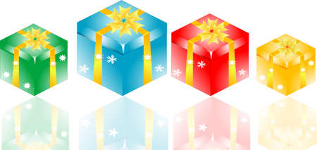 Gift box set with yellow ribbon bow Stock Photo - 17598479