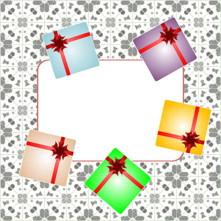 Holiday background with red gift bow, gift boxes and blank card Stock Photo - 17598474