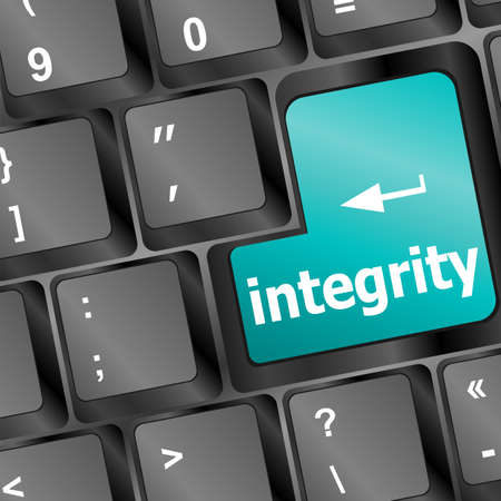 blue integrity button on the keyboard close-up Stock Photo - 17598513