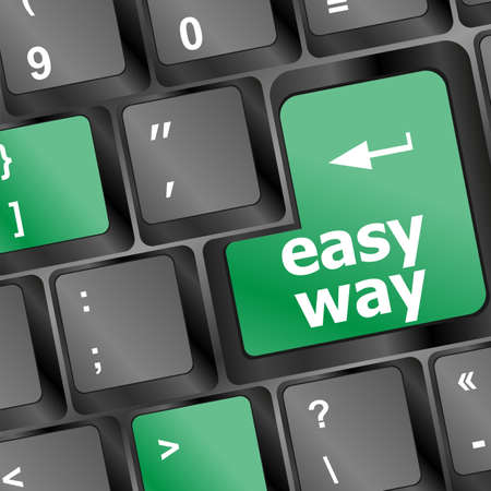 easy way green button on the keyboard close-up Stock Photo - 17598512