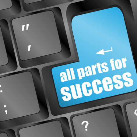 keyboard with words all parts for success on button Stock Photo - 17598505