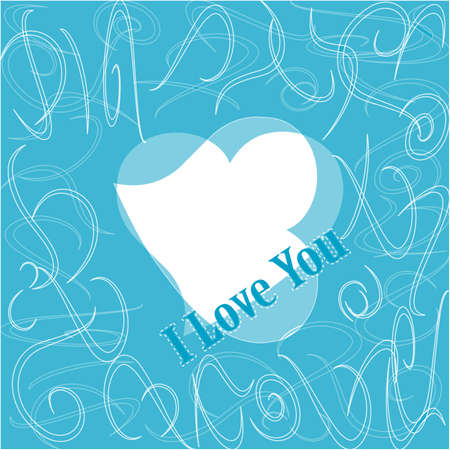 Simple i love you text badge on blue background Stock Photo - 17598475
