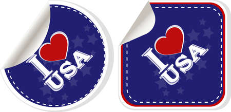 stickers set i love USA with heart Stock Photo - 17598541