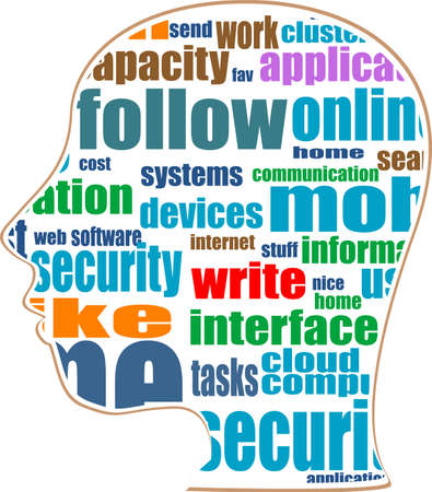 silhouette of head with the words on the topic of social networking Stock Photo - 17598466