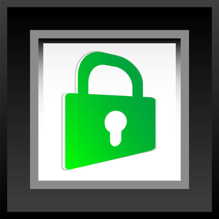 Security icon over aperture style background - locked photo