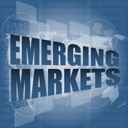 emerging markets: word emerging marketing on digital touch business screen Stock Photo