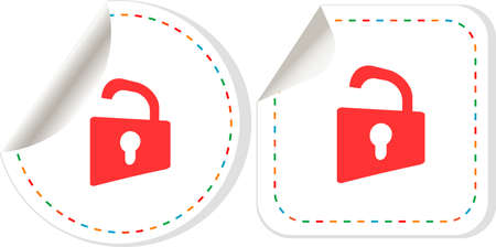 Padlock sticker label tag set. information security Stock Photo - 17658489