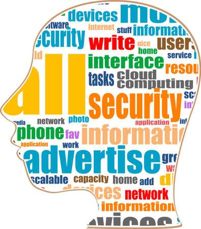 Word cloud business concept inside head shape Stock Photo - 17658548