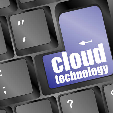 the words cloud technology printed on keyboard, keyboard technology series Stock Photo - 17658520