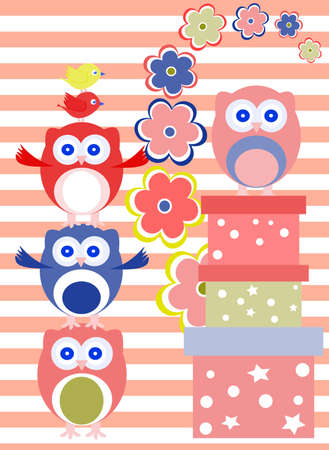 Background with flower, owls and gift boxes photo