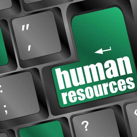 財源: ノート パソコンのキーボード上の人的リソース テキスト 写真素材