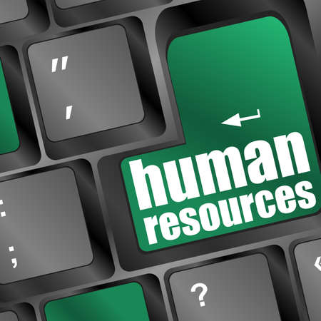 Human resources text on laptop keyboard Stock Photo