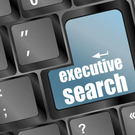 Blue executive search button on the keyboard close-up photo