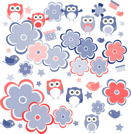 retro flowers and owl kids illustration background pattern Stock Illustration - 17658653