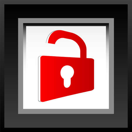 Web security icon shield with red padlock - unlocked photo