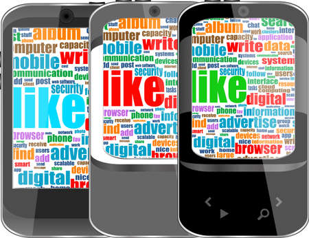 Touchscreen smart phone with social word cloud isolated on white background Stock Photo - 17654608