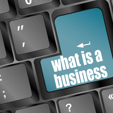 blue key with business word on laptop keyboard - what is a business Stock Photo - 17654589