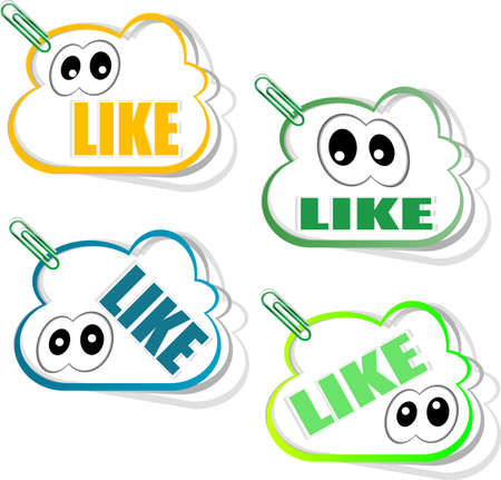 Set social media sticker with like icon and eyes, isolated on white photo