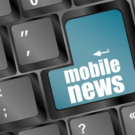 mobile news word on black keyboard and blue button Stock Photo - 17781217